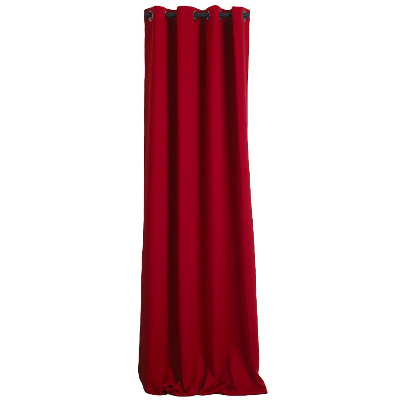 Rideau occultant, Uni, rouge, l.145 x H.260 cm | Leroy Merlin