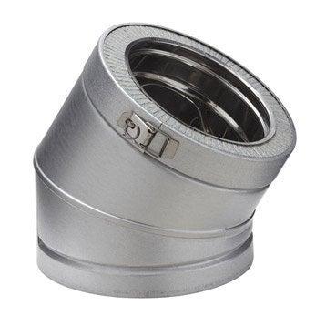 Coude pour conduit double paroi POUJOULAT, D150 mm 30° Ep.30 mm
