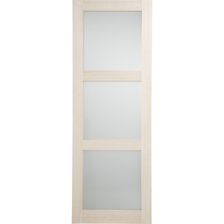 Porte coulissante paulownia plaqu bowen 204 x 73 cm for Porte interieure vitree 83 cm