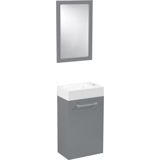 Meuble lave mains avec miroir sensea remix gris galet n 3 - Wc avec lave main leroy merlin ...
