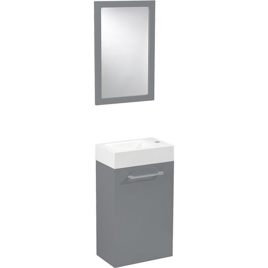 meuble lave mains avec miroir gris galet n 3 sensea remix leroy merlin. Black Bedroom Furniture Sets. Home Design Ideas