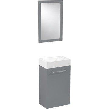 Meuble lave-mains avec miroir, Gris galet n°3, l.38xp.23.8xh.51cm, SENSEA Remix