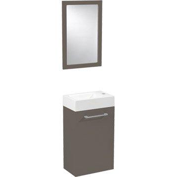 Meuble lave-mains avec miroir Brun taupe n°3, SENSEA Remix