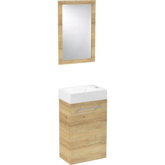Meuble lave mains avec miroir sensea remix ch ne clair - Meuble lave mains leroy merlin ...