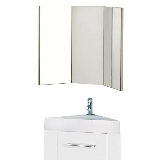 Meuble lave mains avec miroir blanc blanc n 0 sensea remix leroy merlin - Miroir d angle salle de bain ...