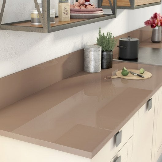 plan de travail stratifi brun tweed 2 brillant x cm mm leroy merlin. Black Bedroom Furniture Sets. Home Design Ideas