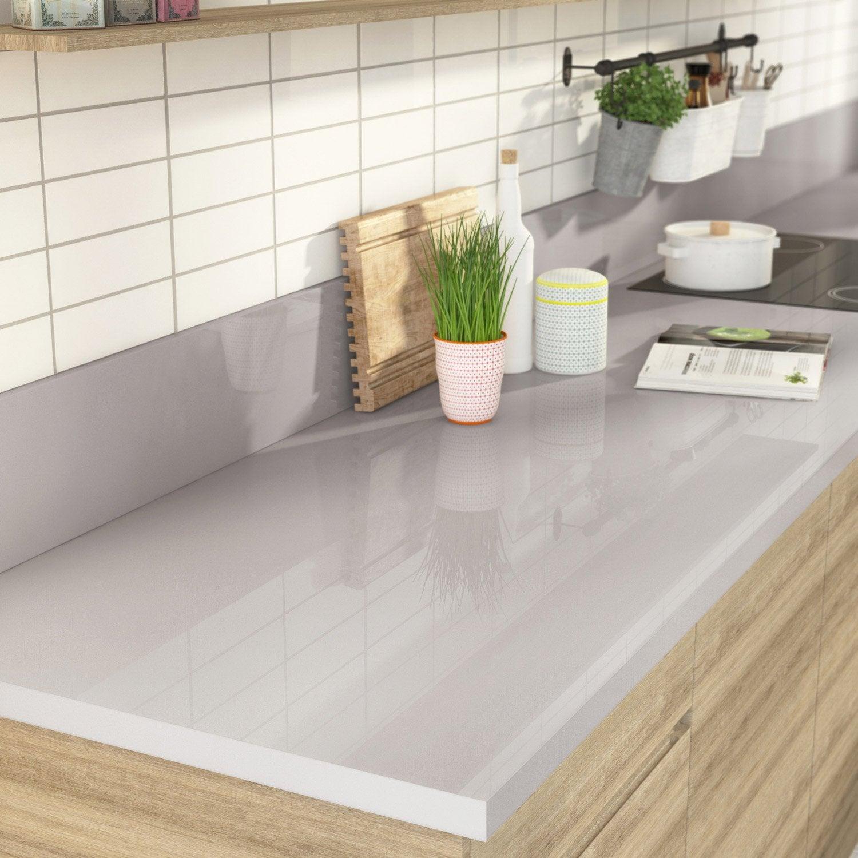 plan de travail stratifi gris m tal brillant x cm mm leroy merlin. Black Bedroom Furniture Sets. Home Design Ideas