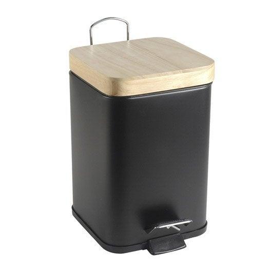 poubelle de salle de bains 3 l noir noir 0 sensea scandi | leroy