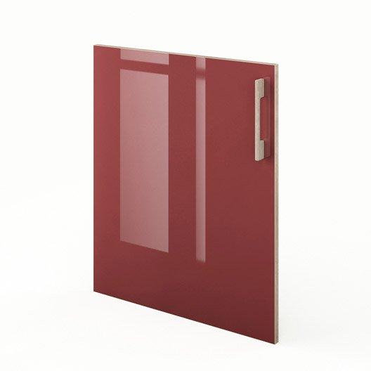 Porte de cuisine rouge f60 grenade x cm leroy for Porte 70 cm largeur