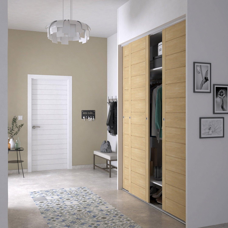 Deco Porte De Placard porte de placard coulissante bouleau spaceo l.66 x h.250 cm