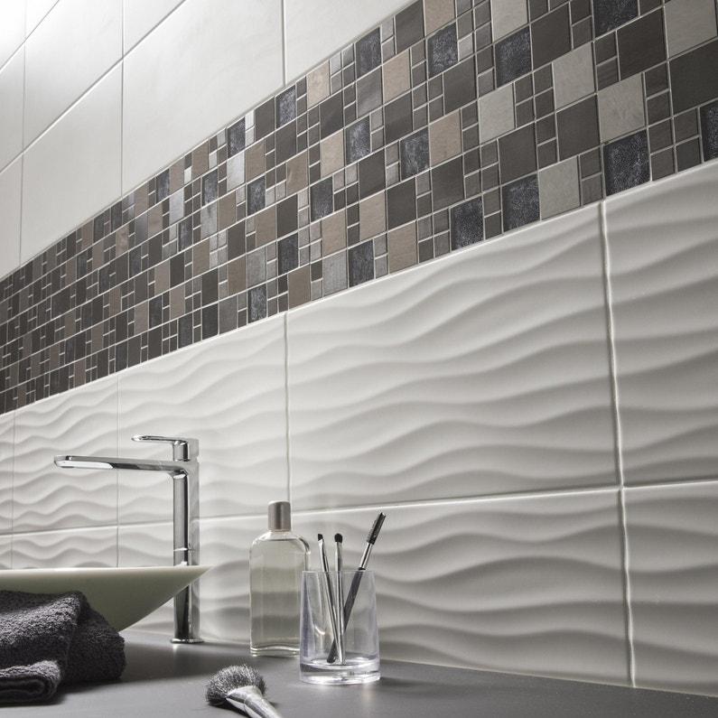 Faience Mur Uni Blanc Mat L 25 X L 50 Cm Hawai Wave