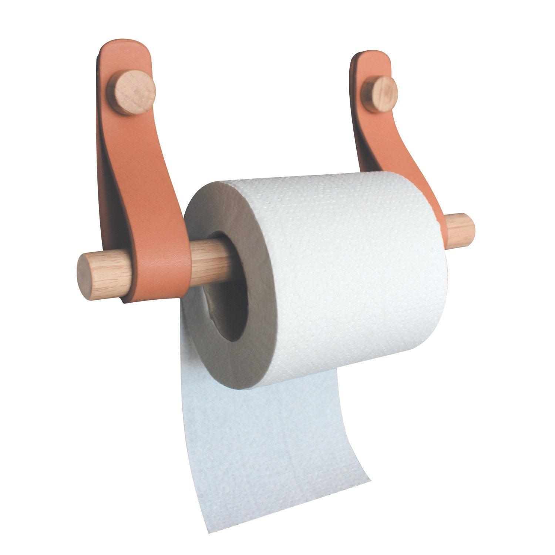 Dérouleur à papier WC bois, effet cuir et bois, capsule