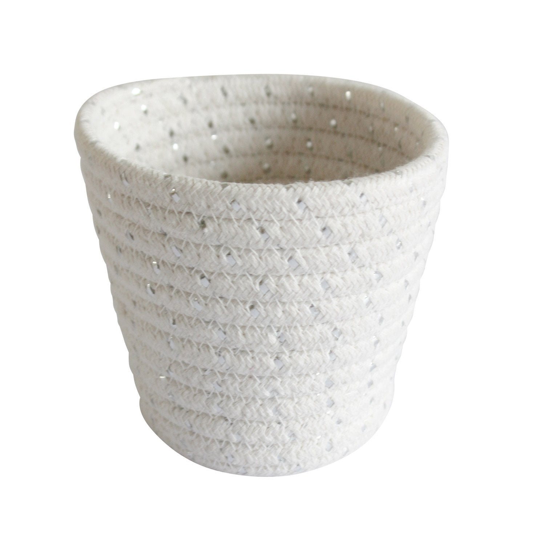 Panier en coton blanc et argent, Mini cordou
