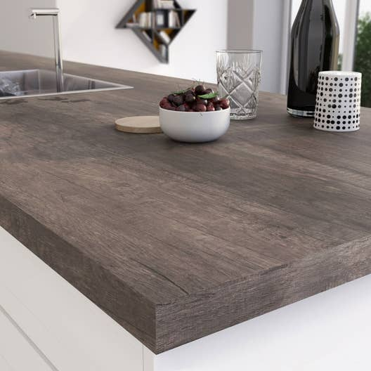 plan de travail stratifi planky brun mat x cm. Black Bedroom Furniture Sets. Home Design Ideas