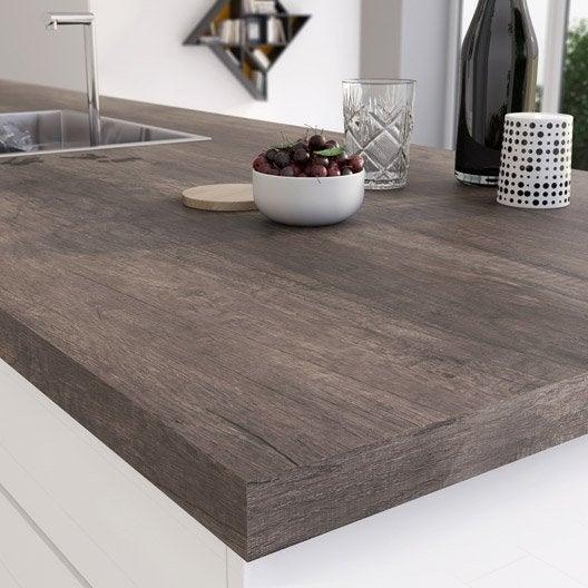 Plan de travail stratifi planky brun mat x cm - Plan de travail cuisine largeur 100 cm ...