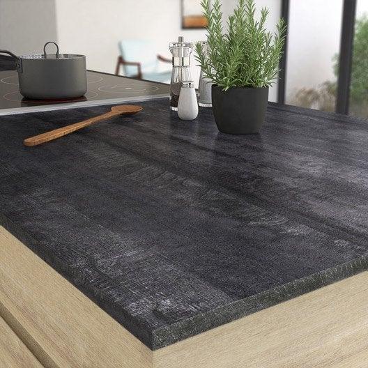 plan de travail stratifié vintage wood noir mat l.315 x p.65 cm