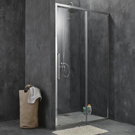 Une porte de douche coulissante profilé chromé