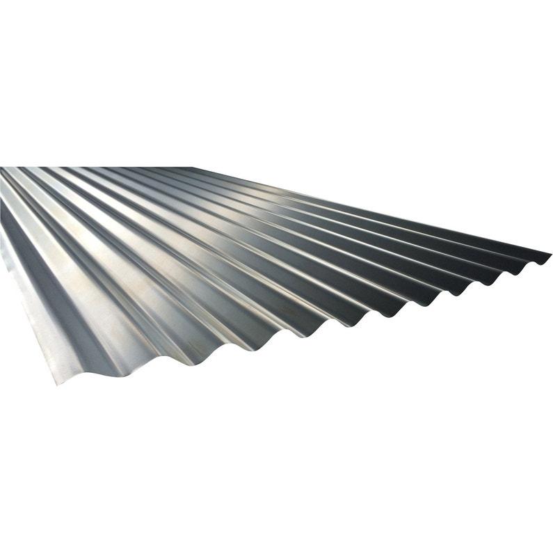 Plaque de toiture nervurée acier galvanisé gris l.0.90 x L.2 m | Leroy Merlin
