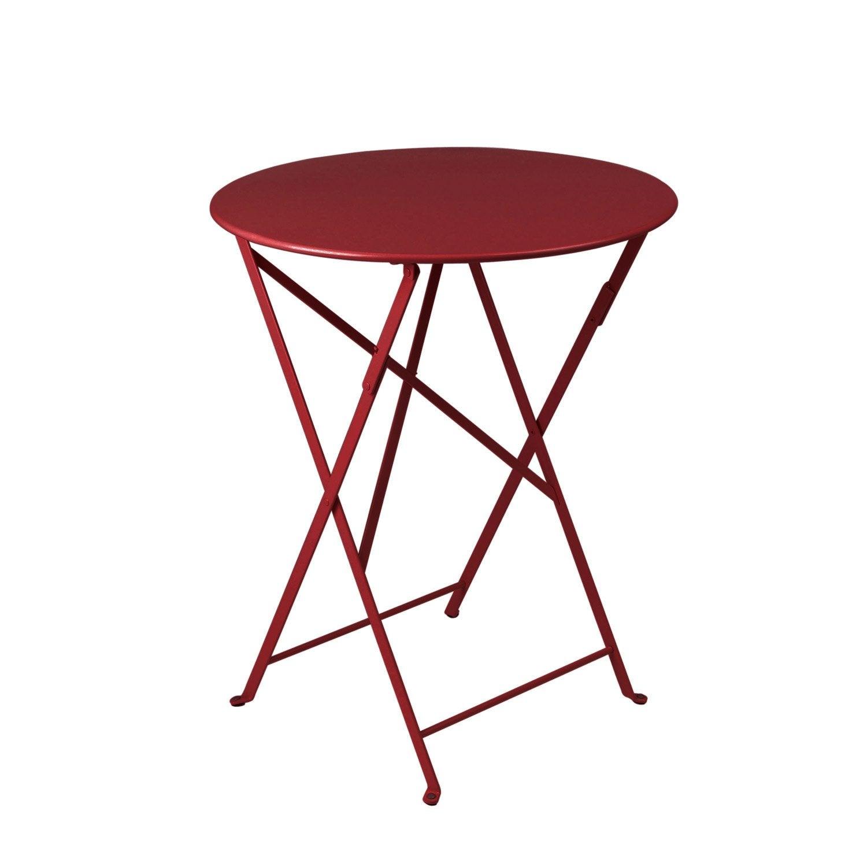 Table de jardin de repas FERMOB Bistro ronde piment 2 personnes ...