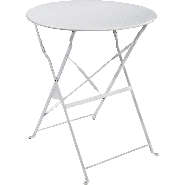 table de jardin naterial flore ronde blanc 4 personnes - Table Ronde Jardin