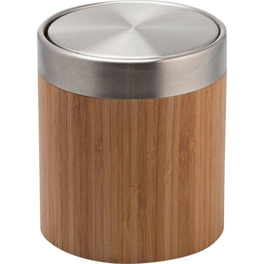 Poubelle de salle de bains 3 l naturel bamboo leroy merlin for Poubelle de salle de bain en bois