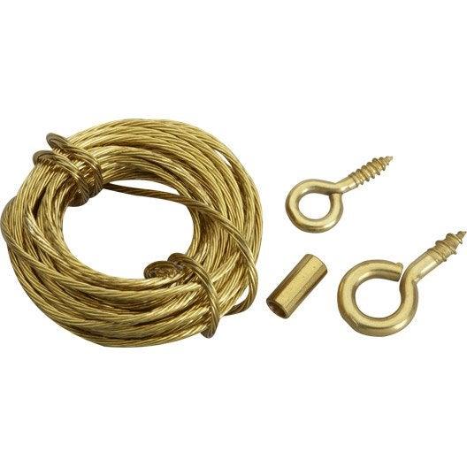 cordon de suspension cordon acier pour tableaux le crochet francais leroy merlin. Black Bedroom Furniture Sets. Home Design Ideas