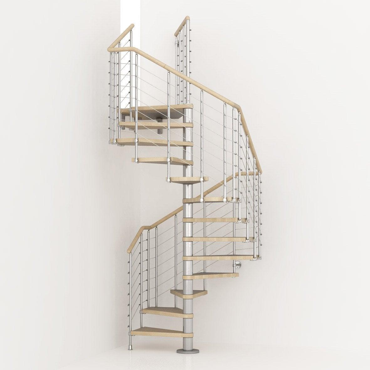 Escalier Colimacon Carre Cubeline Structure Metal Marche Bois