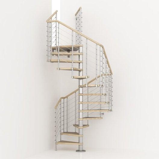Escalier colimaçon carré Cube line, marches bois/ structure métal