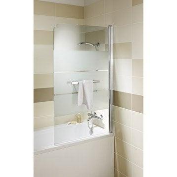 Pare-baignoire 1 volet verre de sécurité 5 mm sérigraphié, Optima2
