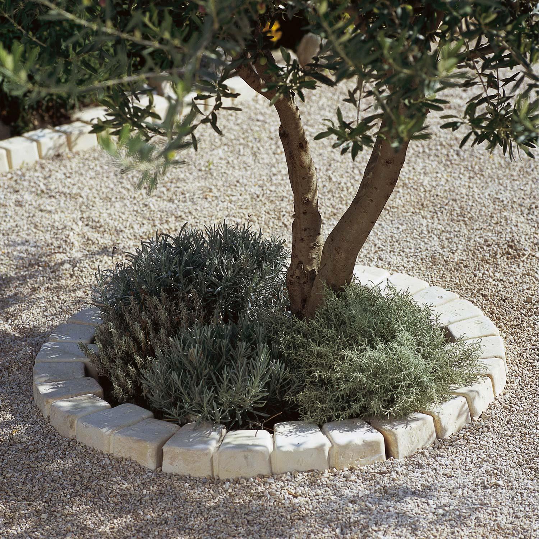 Bordure courbe Castel larzac en pierre reconstituée beige flammé, H ...