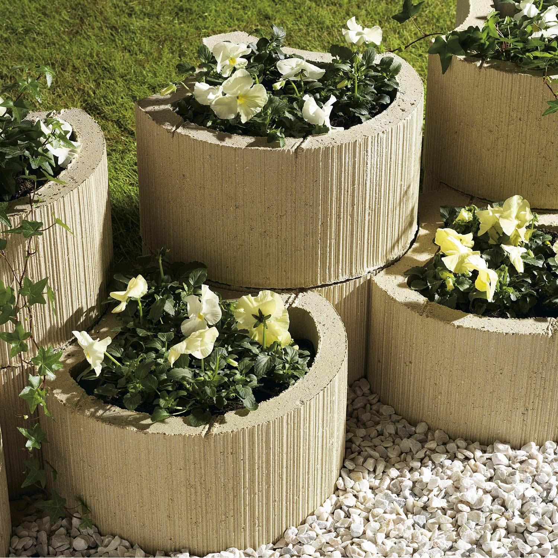 Muret floral de soutènement à planter Floralie béton ton pierre, H ...