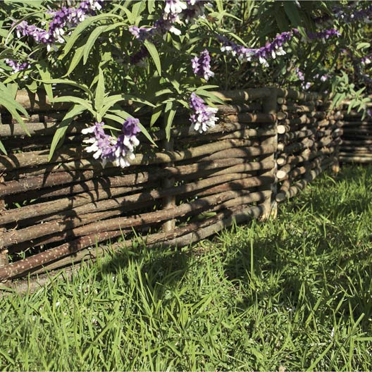 Bordure planter tresse bois naturel x cm for Bordure en bois tresse