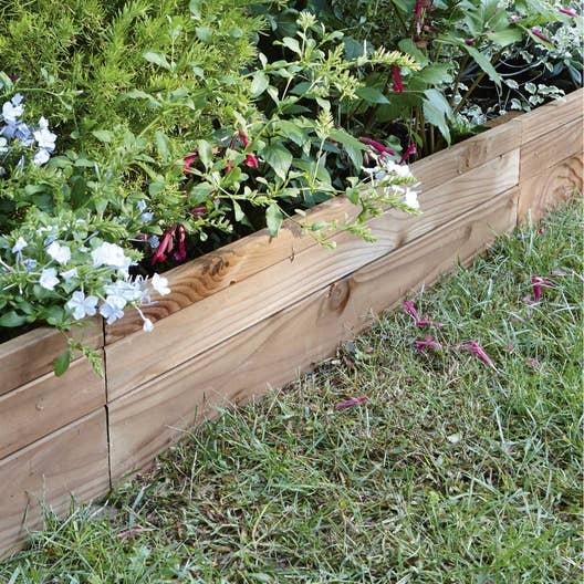 Bordure planter douglas bois marron x cm - Traverse en bois pour jardin ...