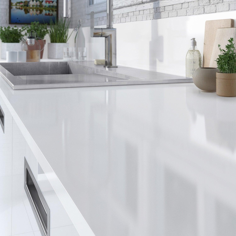 Plan de travail stratifi blanc brillant brillant x cm cm leroy merlin - Largeur d un plan de travail cuisine ...