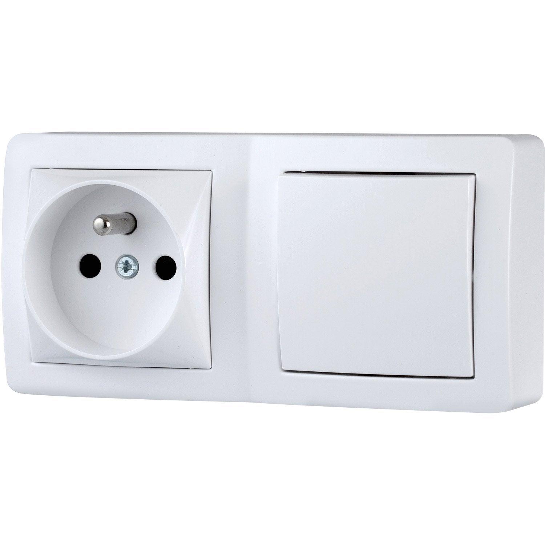 interrupteur et prise avec terre saillie alr a schneider electric blanc leroy merlin. Black Bedroom Furniture Sets. Home Design Ideas