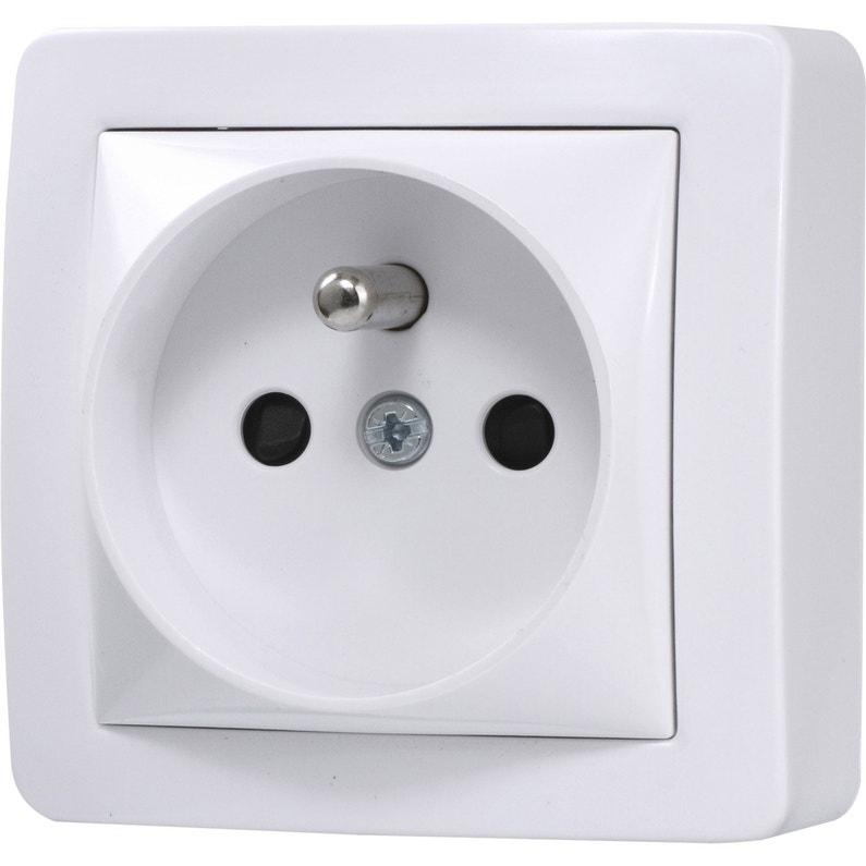 Prise Avec Terre Saillie Schneider Electric Alréa Blanc