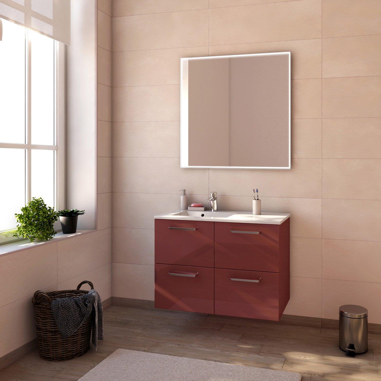 Salle De Bain Meuble Rouge ~ meuble de salle de bains de 80 99 rouge neo line leroy merlin