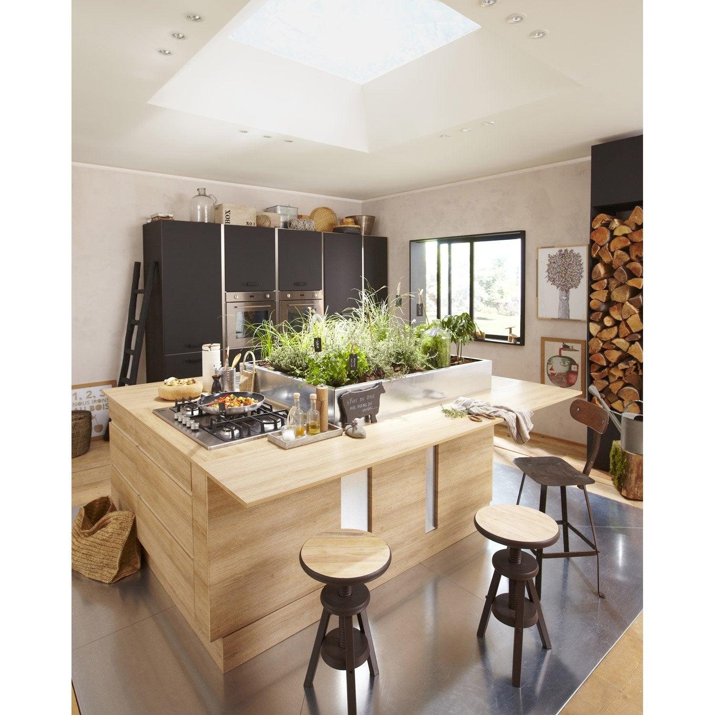 Meuble de cuisine noir delinia mat edition leroy merlin for Meuble de cuisine noir