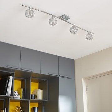Rampe 4 spots sans ampoule, 4 x G9, chrome Deva INSPIRE
