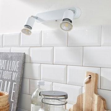 Rampe 2 spots sans ampoule, 2 x GU10, blanc Basic INSPIRE
