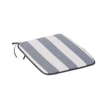 Coussin d'assise de chaise ou de fauteuil blanc / gris Rayures