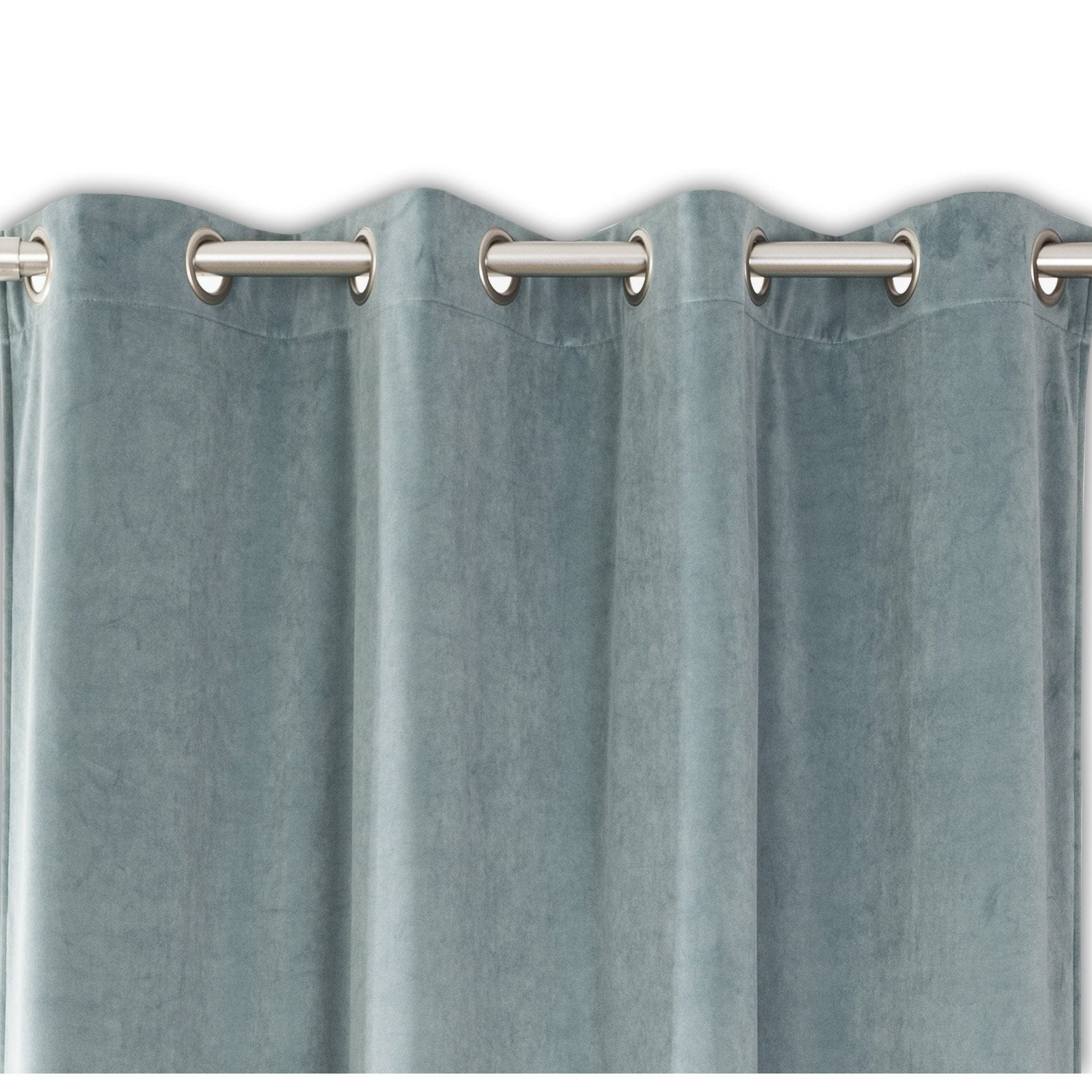 Rideau tamisant, velours, Velours bleu céladon l.140 x H.260 cm