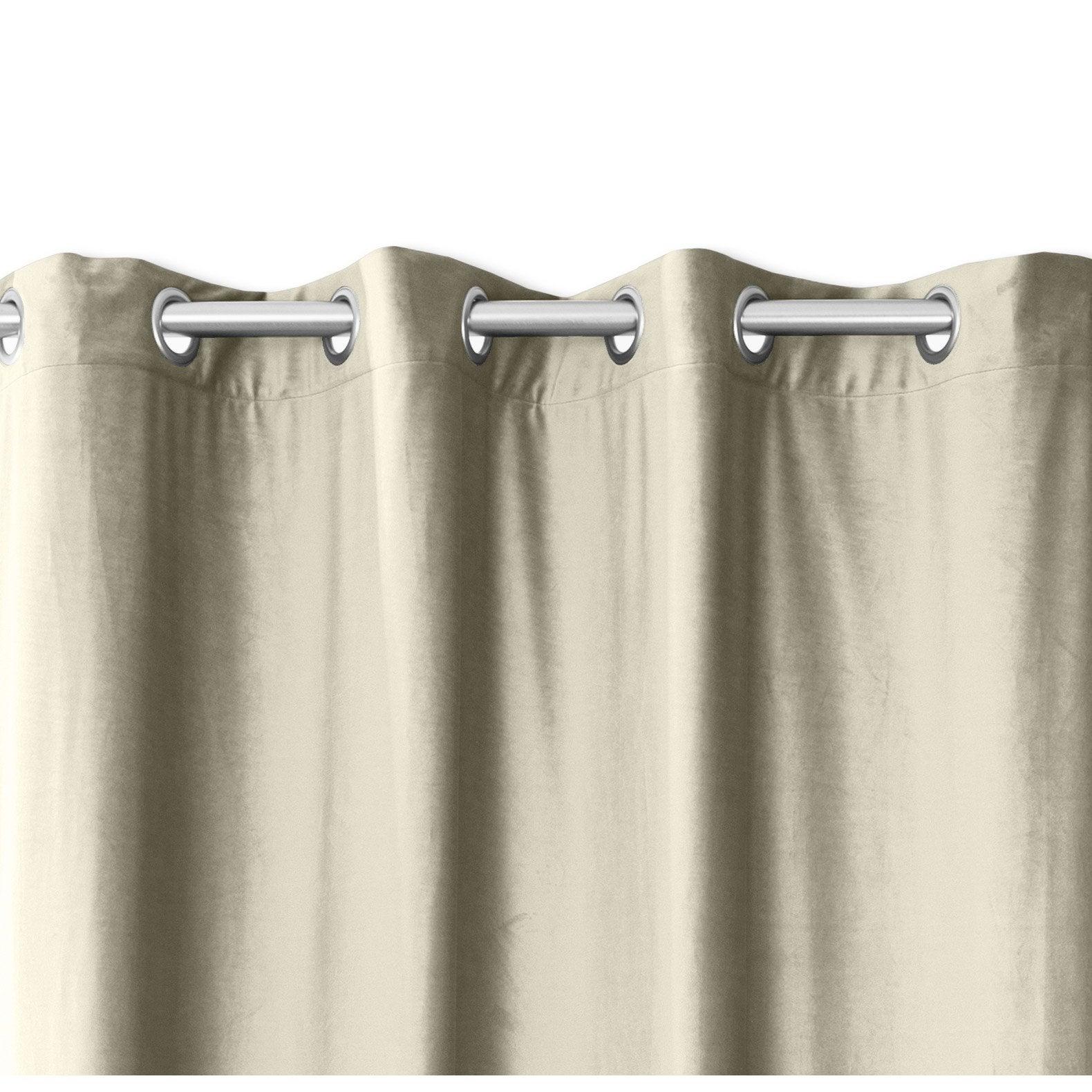 Rideau obscurcissant, velours beige l.140 x H.260 cm