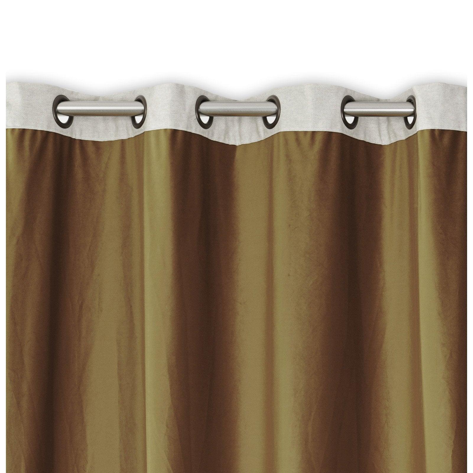 Rideau tamisant, velours, Velours & lin camel l.140 x H.260 cm