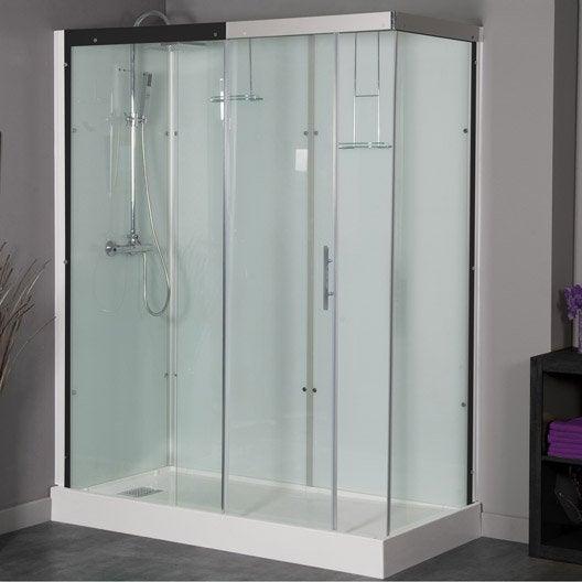 Cabine de douche rectangulaire 160x80 cm thalaglass 2 thermo leroy merlin - Cabine douche rectangulaire ...