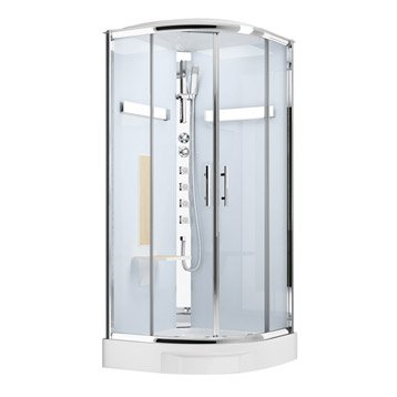Cabine de douche Ilia chêne hydromassante thermostatique 1/4 de cercle 90x90cm