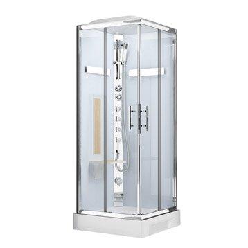 Cabine de douche carré 90x90 cm, Ilia chêne