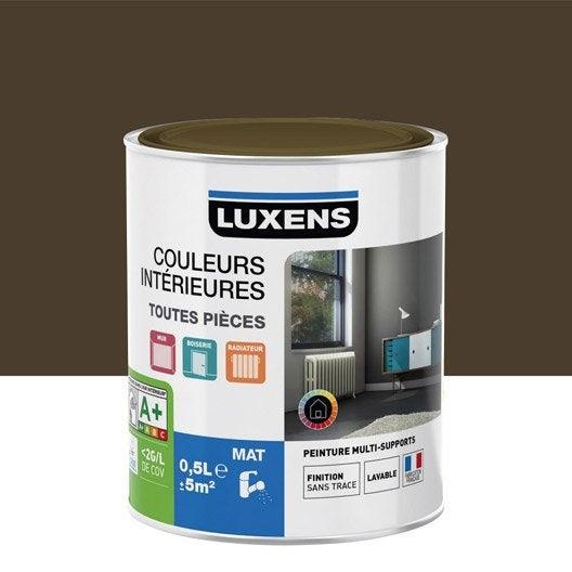 Peinture brun brun 1 luxens couleurs int rieures mat 0 5 l leroy merlin for Peinture vert kaki