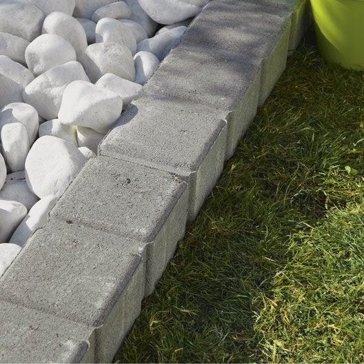 Bordure droite seine pierre reconstitu e gris x for Bordure jardin leroy merlin