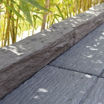 Bordure droite Morbihan pierre reconstituée gris, H.10 x L.50 cm